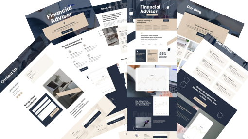 A collage of images of pages for a financial adviser website design.