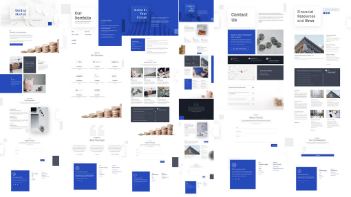 A collage of images of pages of an IFA Website design